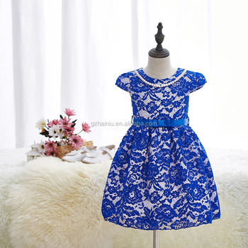 2017 spring and summer children short-sleeved lace princess dress for girls birthday party wear