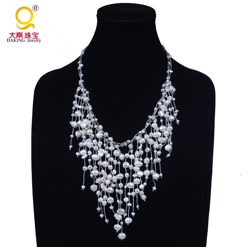 statement freshwater pearl beads multilayer women necklace jewelry