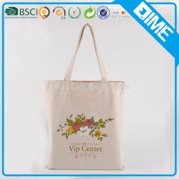 high class handled cheap design natural color cotton fabric shopper tote bag