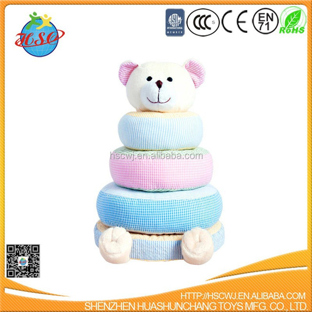 Colorful Plush Teddy bear Ring Baby education Toy