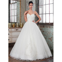Wholesale Elegant Alibaba 2015 White Ball Gown A Line Wedding Dresses Beaded Bodice and Full tulle skirt with an e elegant LW99