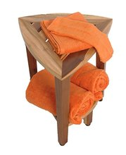 FULLY ASSEMBLED Compact Teak Corner Shower Bench With Shelf- Shower Sitting Storage Shaving Foot Rest