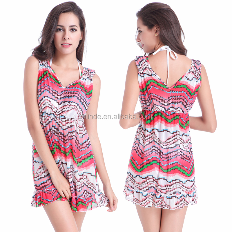 Cover Up Beach Dress Summer Sunbathing Suit Seaside Resort Of Bathing Suits Sexy Mini Summer Woman Sexy Floral Beach Dress