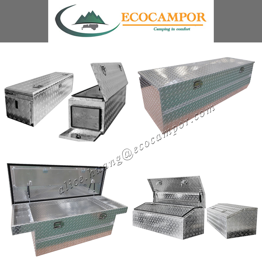 Polished aluminum ute tool box for truck