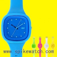Unisex Quartz Sports Silicone Wrist Watches, Silicone Square Candy Watch