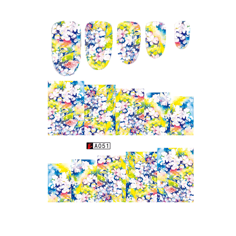 A049-060 Beautiful Flowers Design Nail Art Full Cover Water Nail Sticker