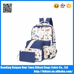 China supply custom functional 3 pieces canvas zoo animal printing school bag set