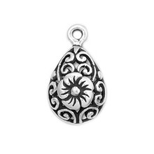 Custom antique silver bail pendant with flower design charms jewelry