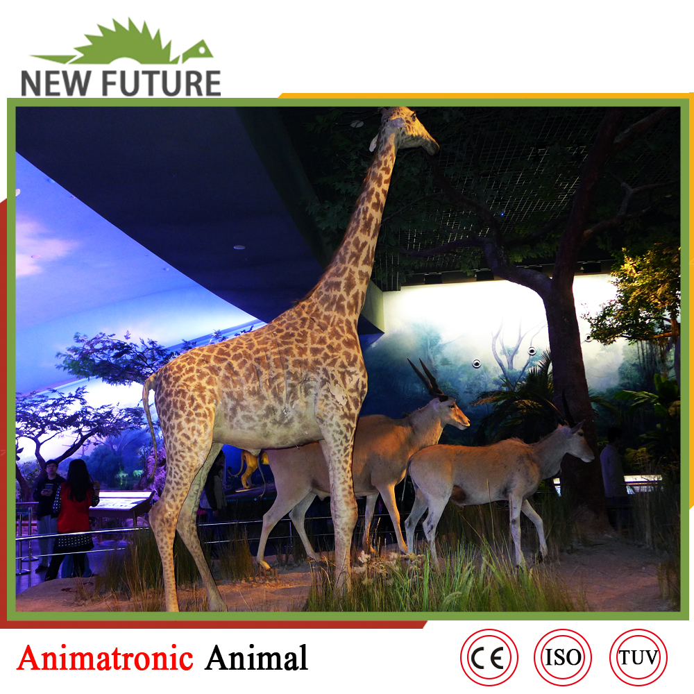 Life-Size Animal Animatronic Giraffe Model For Sale
