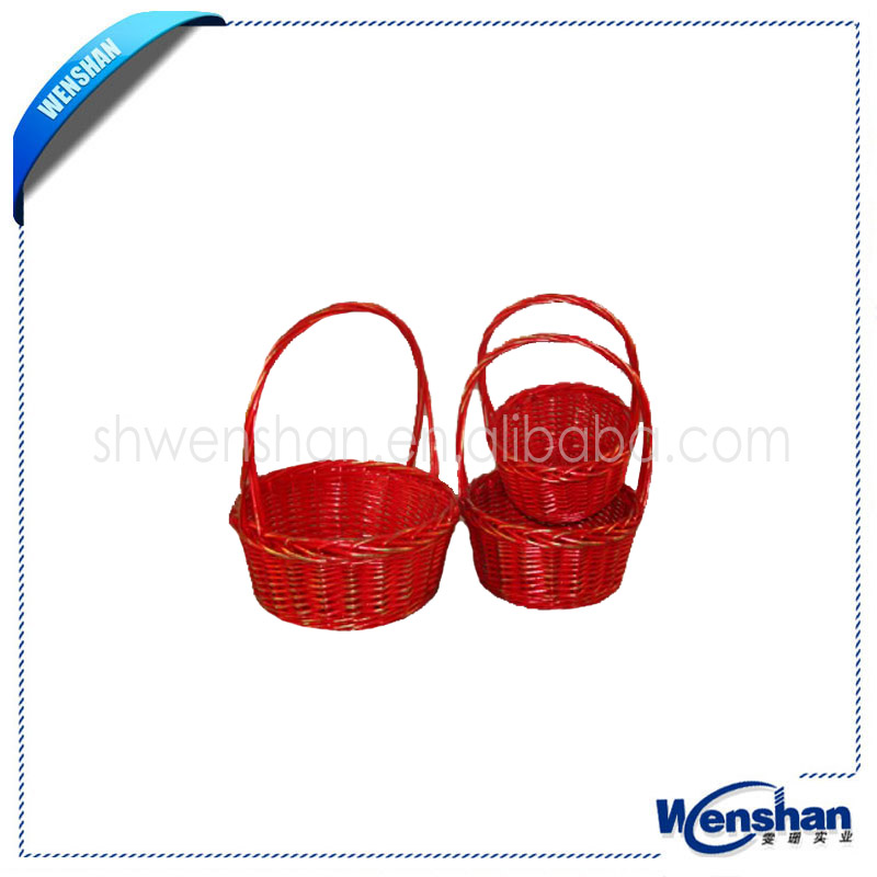round shape red wicker baskets