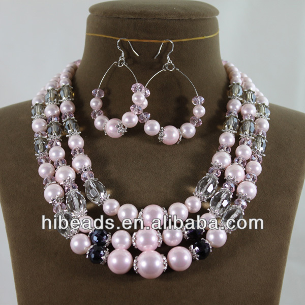 Multicolor Shell Pearls/Crystal Necklace Earrings Set New Shell Pearl Set SP010