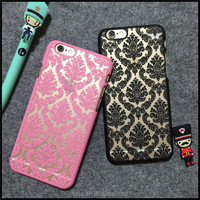 China Retro Palace Hollow Flower Print Case PC Hard Shell Clear Phone Back Cover pc case for iphone5 6 6S