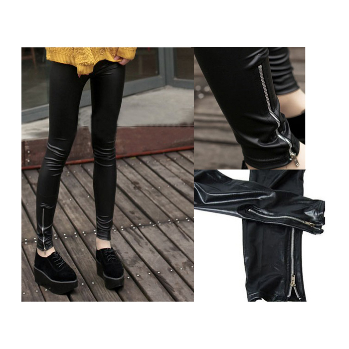 New arrival Leggings female brand faux Pu Leather pants with zipper fashion trousers black hot sale