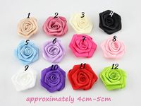 Handmade 100% polyester satin ribbon roses flower for wedding decoration