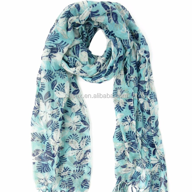 Blue Flower Cotton Print Lady tassel Shawl