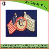 Custom top quality hot gift product USA LIBERTY FLAGS OF FREEDOM ELLIS ISLAND GREECE LAPEL PIN