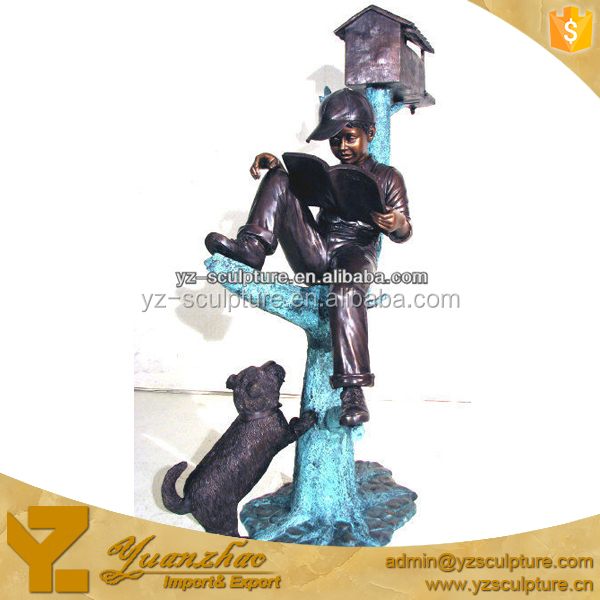 Decorative Outdoor Reading Book Boy with his Dog Mailbox statue TSN-X009