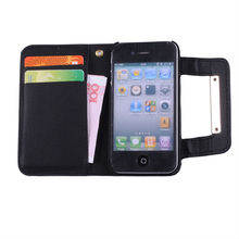 New PU Leather Folding Wallet Card Hard Case Cover For iPhone 4 4S