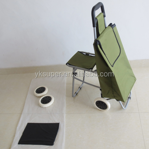 Hot Selling Stair Climbing Folding Shopping Cart with Seat