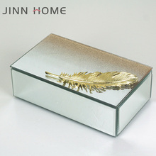Personalised Golden glitter Mirror Glass Jewellery Box with Metal Feather Trinket Box with Sparkle Lid gift Birthday for her