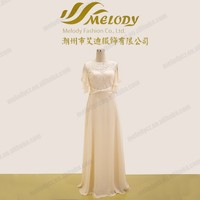 Ivory long chiffon beading maxi short sleeve ruffle party drape lace evening dress