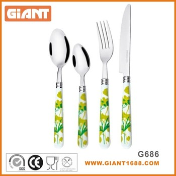 Colorful Flower Printing Stainless Steel Plastic Handle Cutlery