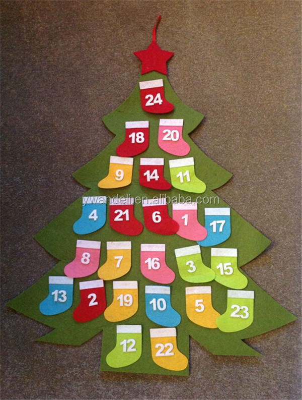 Felt Christmas Tree Advent Calendar New Pockets for Treats Countdown