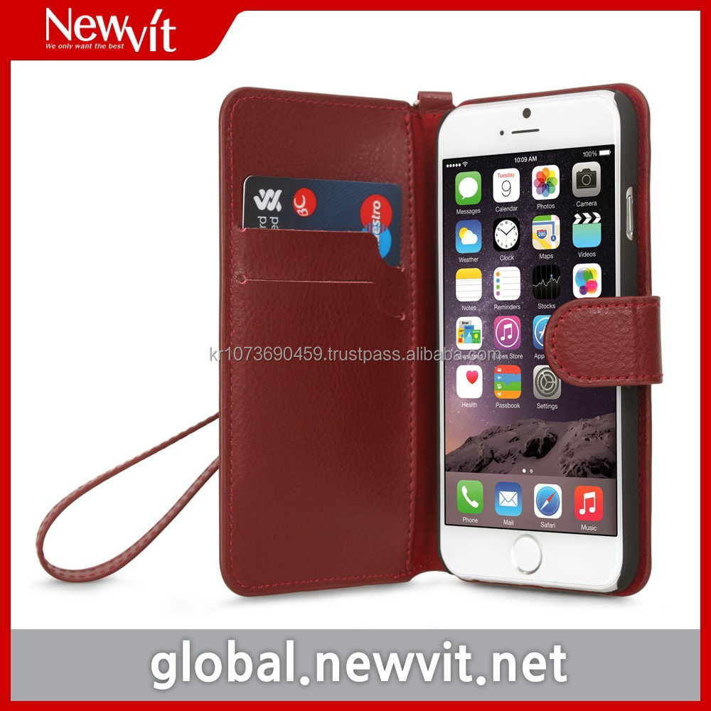 Newvit wallet case for iPhone 6 / Genuine leather / Card slot provided