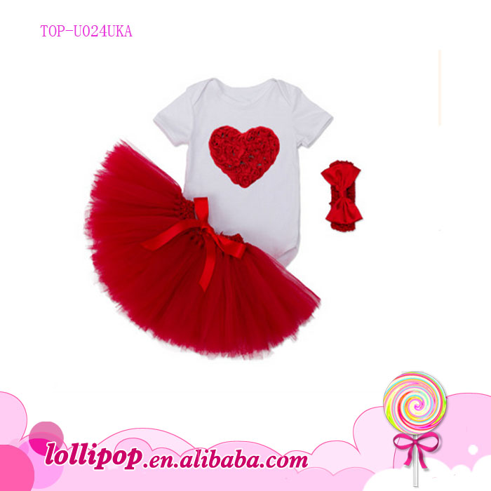 Newborn Gift Set Valentine's Day Baby Girls Fluffy Skirted hearted Outfit Set Baby Romper with tutu Hairbow Boutique