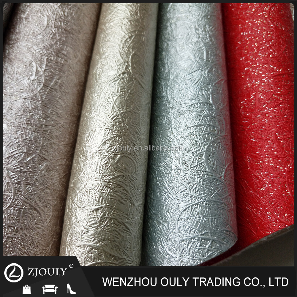 Pearl glitter colour high quality emboss pu fabric leather for bags shoes