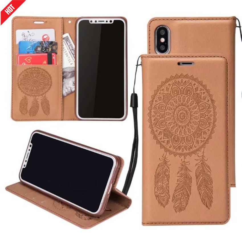 Top Selling Fashion Design PU Leather Wallet Mobile Phone Case Cover with Card Slot and Campanula Pattern for iphone X