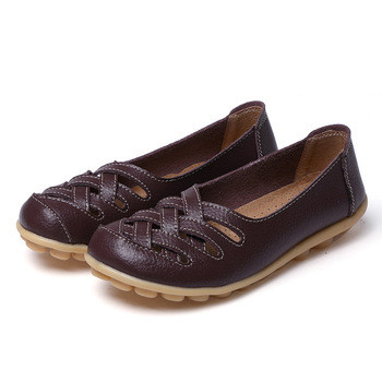 Women Genuine Leather Loafers Casual Shoes Indoor Flat Slip-on shoes