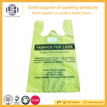 High Quality T-shirt plastic bag yellow vest handle bags for shopping,100% biodegradable die cut t-shirt bag
