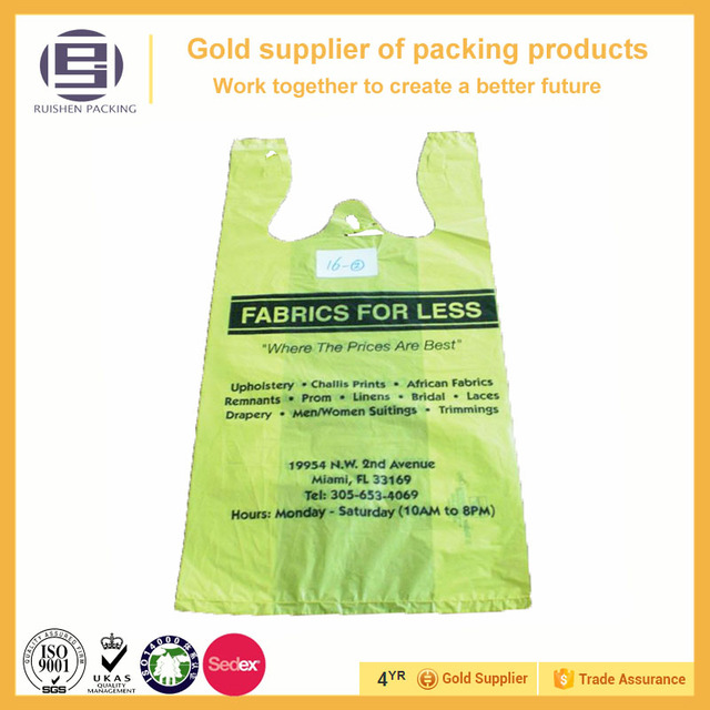 High Quality biodegradable hdpe yellow color vest handle packing bags