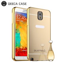 Ultra Thin Electroplated Acrylic Mirror Back Cover Aluminium Frame Full Metal Case For Samsung Galaxy Note 3 4