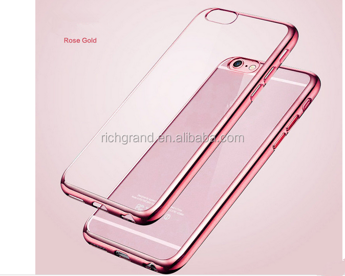 Luxury Ultra Thin Clear Crystal Rubber Electroplating TPU Soft Mobile Phone Case For iPhone 6 6s Plus