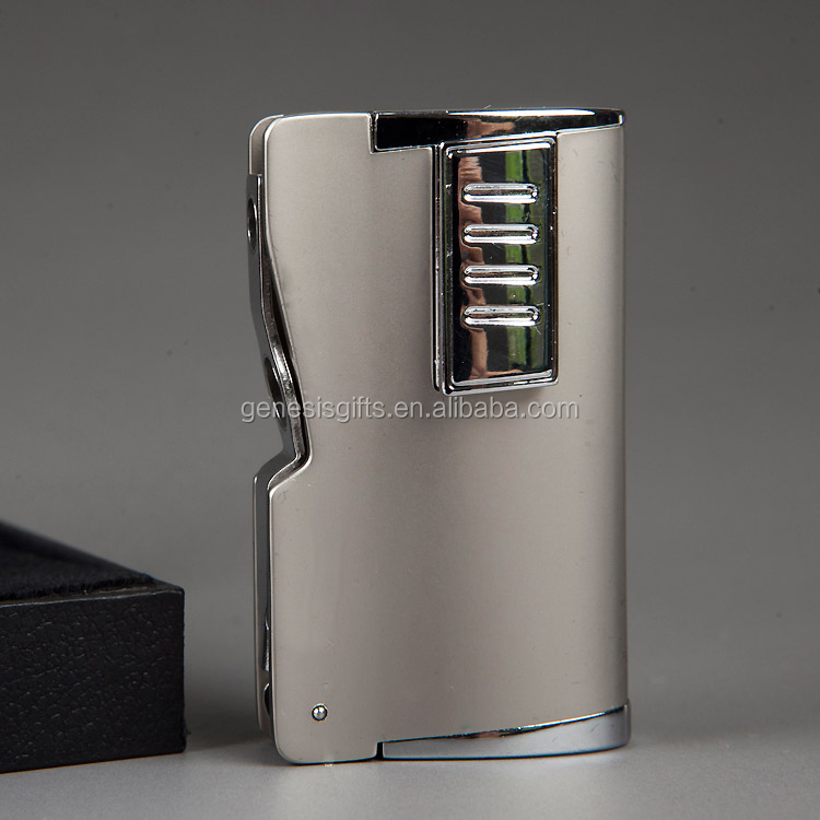 Hot Sale High Quality 2 Jet Flame Refill Butane Gas Cigar Lighter Wholesale with Cigar Punch