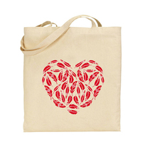 loving heart print cotton green biodegradable custom printed 100% natural shopping carry tote drawstring bag ladies handbag