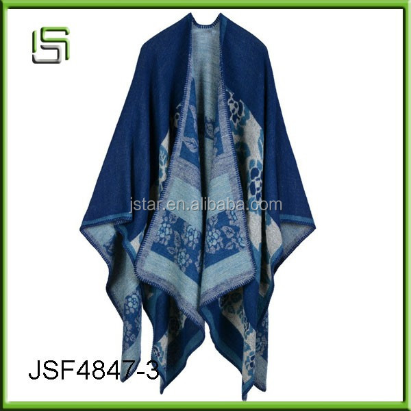 Autumn and winter scarves women 's travel shawls imitation cashmere national wind fork thicken the cloak scarf