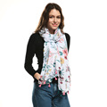 Ladies white color seuqin flower printed tassel scarf shawl