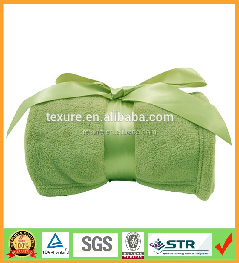 Green super soft thick coral fleece blanket with silk ribbon as promotion gifts