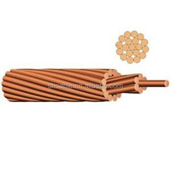 Bare Solid Copper conductor power cable Copper Rope electric wire