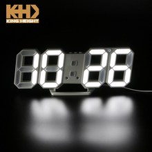 KH-CL076 KING HEIGHT Wall Mounted Desktop Illuminate Alarm Digital 3D LED Desk Clock with Snooze Function
