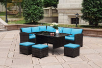 Conservatory corner heavy wicker outdoor furniture