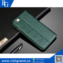 crocodile pattern genuine leather flip cover mobile phone case