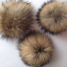 Fashion raccoon fur pom pons ball in natrual color fake fur ball pendant KC-113A