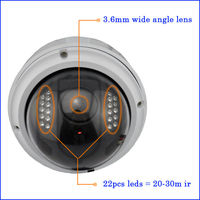 2013 new WIFI HD 720P 2.0 Megapixel CMOS 30M IR security camera dome