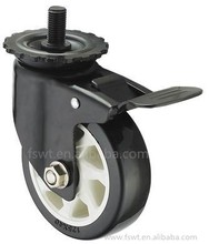 Plastic Polyurethane Trolley Wheel 125mm Screw Thread Swivel Casters