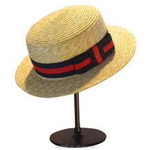 Natural custom wholesale burket wheat straw school boater hat
