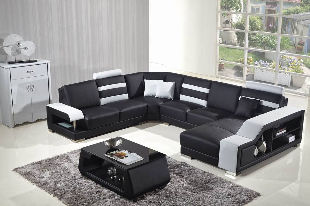 Sweden Style 5 Seat Black Leather Living Room Love Sofa